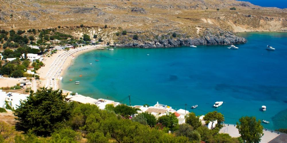 Kaleden Lindos plajı
